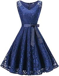 Yesmile Vestido de Mujer Falda Cuello Redondo Sin Mangas de Encaje Costura