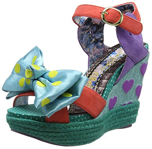Irregular Choice - Sandalias con Punta Abierta de Tela Mujer, Color Azul, Talla 37