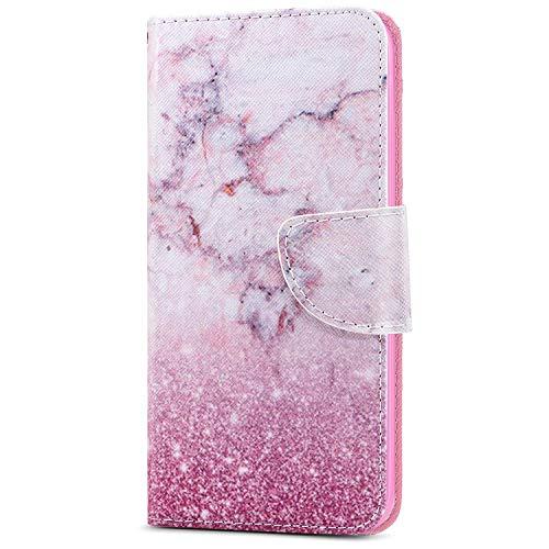 Kompatibel mit Samsung Galaxy J4 Plus, Herbests Hülle Handytaschen Klapphülle Brieftasche Case Tasche Leder Flip Cover Ultra Dünne Ledertasche Leder Schutzhülle Klappbar Handyhüllen,Marmor