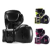 Sanabul Essential Gel Boxing Kickboxing Fighting/Bag Gloves (All Black, 12 Oz)