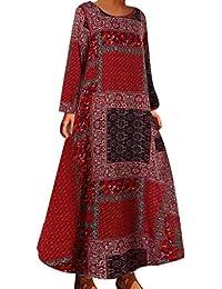 Aini Vestidos Largos Verano Mujer Vestido Casual Estampado 2019 Ropa De Estilo Nacional Vestido De OtoñO De Gran TamañO Vestido Bohemio Vestido De Manga Larga con Cuello Redondo Falda De Playa