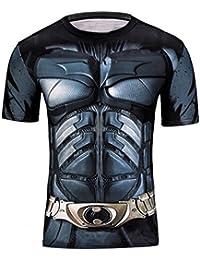 Samanthajane Clothing Born2Ride Superhero Fancy Dress/Gym/Cycling Short and Long Sleeved Compression Baselayer T-Shirt Tops (Large, New Batman Short Sleeve)