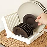 HAPPY ELEMENTS 12 Collapsible Plastic Sish Rack Drain Frame Folding Drop Foldable Dish Plate Drying Rack Organizer Drainer Plastic Storage Holder Kitchen Plastic Storage Holder