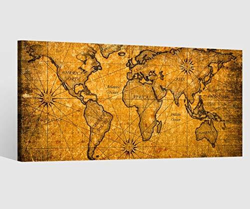Leinwandbild Leinwand Karte Welt Weltkarte braun antike Landkarte Afrika map alt Bild Bilder Wandbild Holz Leinwandbilder Kunstdruck vom Hersteller 9AB604, Leinwand Größe 1:80x40cm