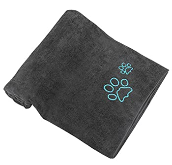 Animal winthome Super Absorbante Serviette, microfibre chien Drap de Bain 77 x 127 cm (Gris)