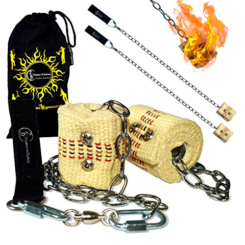 2x45mm Docht - Medium Flammen) Fire Poi +Reisetasche. Swinging Poi, Spinning Pois und Feuer Jonglieren für Anfänger und Profis. ()