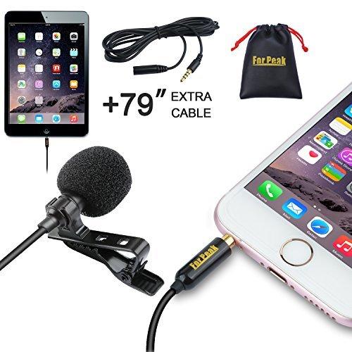 Micrófono de solapa Lavalier, Omnidireccional Micrófono condensador con sistema de clip para iPhone iPad Android Windows Smartphones, Grabación Youtube Entrevista Podcast ASMR