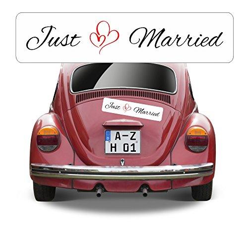 Magnetschild Kennzeichen Hochzeit beschriftet mit Just Married AZ0556