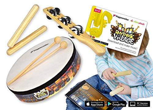 Voggenreiter Percussion-Set für Kinder ab 6 Jahre inkl. Rhythmic Village Lernsoftware App für Smartphone, Tablet & Computer (Handtrommel + 2 Schlägel, 2 Klangstäbe, Schellenstab)