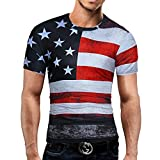 Swallowuk Herren Casual T-Shirt USA Flagge Drucken Slim Fit Hemd Top (XL, Schwarz)