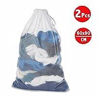 DoGeek Mesh Laundry Bag - White Wash Bag - Washing Bags for Washing Machine Large Laundry bags Laundry Net (Size:60 x90cm) (2 pcs, White)