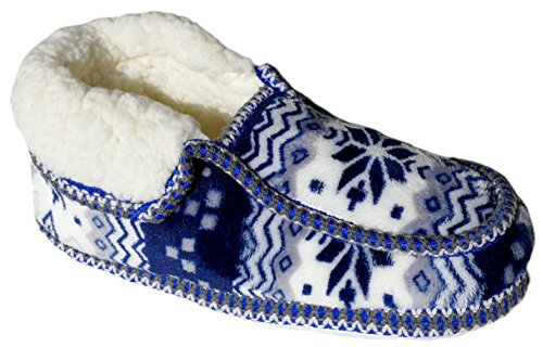 GIBRA® Hausschuhe für Damen, warm gefüttert, mit weißer Sohle, blau/weiß, Gr. 36-41 Blau/Weiß