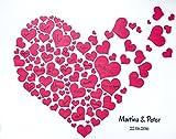 KATINGA Personalisierte Leinwand Herzen Rot zur Hochzeit - als Gästebuch für Unterschriften (40x50cm, inkl. Stift) (Herz Rot)