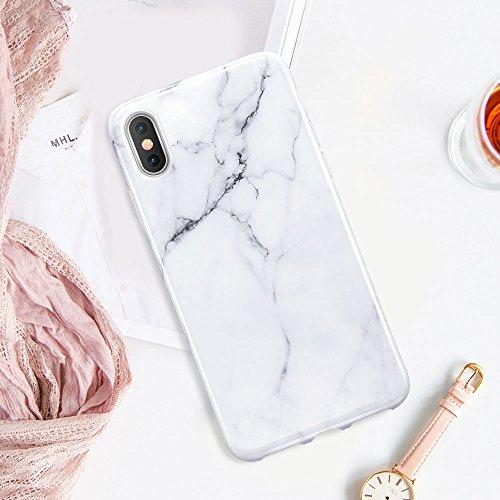 ESR iPhone X Hülle [Kabelloses Aufladen Unterstützung] mit Marmormuster [Anti-Kratzer][Ultra Dünn] Slim Fit Weich TPU SchutzHülle [Kabelloses Aufladen Unterstützung] für Apple iPhone X / iPhone 10 5.8 Weiß