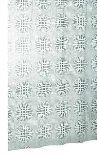 Vinyl Duschvorhang 180x200 cm mit Ringen SFERA transparent 70er Jahre Discokugel, Badewannenvorhang mit Anti - Schimmel Effekt
