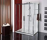 Duschkabine 150x70 cm, Duschabtrennung 150x70 x 200 cm (BxH), Schiebetür mit Seitenwand, 3-teilig, ESG 8/6 mm, Elox
