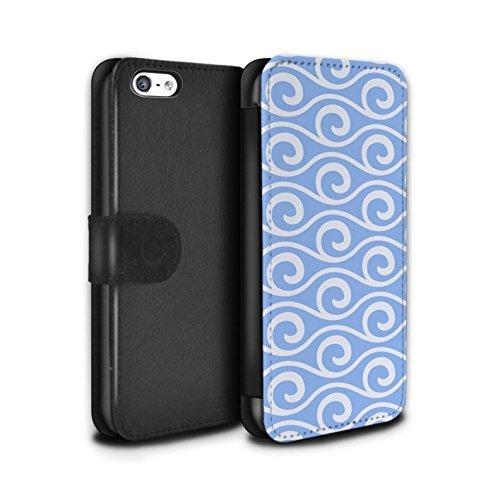 Stuff4 Coque/Etui/Housse Cuir PU Case/Cover pour Apple iPhone 5C / Multipack Design / Motif ondes chic Collection Bleue