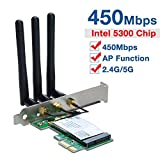 Covvy 450M 2.4Ghz/5Ghz Dual Band Wi-Fi Adapter, PCI-E Wireless Network Card with 3 External Antenna for Home PC, AP Function Support, Compatible with Win Vista/7/8/10 and Linux