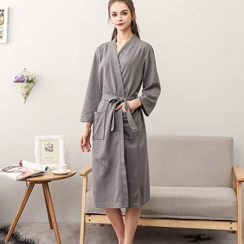 Home + Bathrobe Paar Pyjamas Dünne Bademäntel Weibliche Sommerbademäntel Plus Größe Roben Paare Bademäntel @ Grey Female_XXXL (Seide Bademantel Größe Plus)