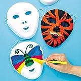 Baker Ross Máscaras flocadas en blanco que los niños pueden diseñar, pintar y usar como parte de...