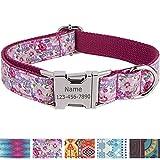 Vcalabashor Personalisiertes Hundehalsband mit Hundename und Telefonnummer/Strapazierfähiger Stoff mit Mode-Muster und Metallschnallen/Für mittlere und große Hunde/Pinke Blume