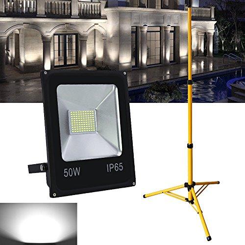 VINGO® LED Projecteur Projecteur Spot halogène trépied hauteur réglable Lot de lampes incluses 1 travail Trépied télescopique, 50w Kaltweiß 50.00 wattsW