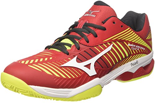 Mizuno Wave Exceed Tour 3 CC, Scarpe da Tennis Uomo, Rosso (Marsred/White/Safety Yellow), 43 EU