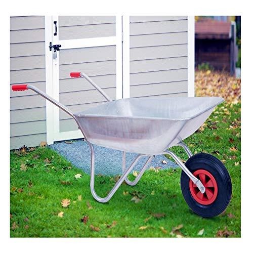 Schubkarre 100 kg, verzinkt, für Garten und Stall, 80 Liter, Luftreifen - 2
