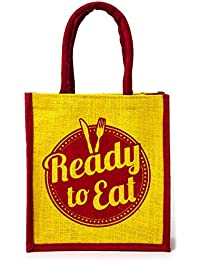 H&B Beautiful, Trendy & Stylish Maroon And Yellow Color / Jute Handbag Quality Lunch Bag, (Ready To Eat, Size,...
