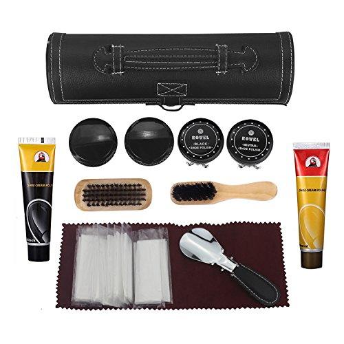 BONSYL Kits de cuidado de zapatos,Juego de mantenimiento y limpieza para zapatos,crema de zapatos,cepillo,esponja redonda,paño de pulido,negro maletín de transporte
