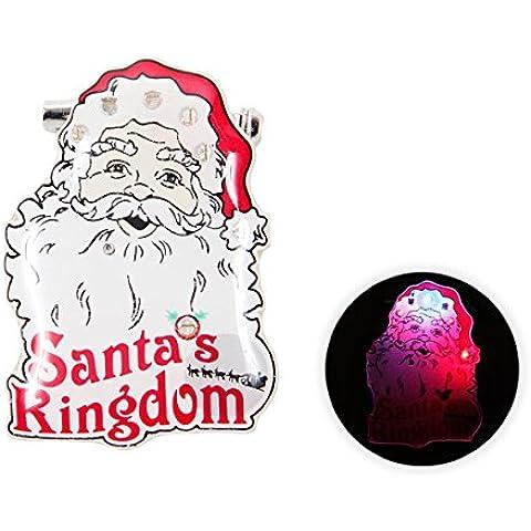 Spilletta LED con luce intermittente per natale (b-148) spilla pin badge festa natalizia babbo natale accessorio effetto luminoso batterie incluse pupazzo di neve albero campanello regalo renna - Pupazzo Pin Spilla