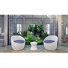 Spring Love Designer Gartenmöbel Set Polyrattan Poly Rattan Garten Möbel  Gartengarnitur Sitzgruppe Weiss