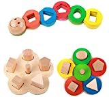 FSOSOO Wooden Building Blocks Set Puzzle Colorful Enlightenment Learning Early childhood education Childrens Educational Toys Set