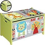 Bieco 74004813 - Spielzeugtruhe und Sitzbank in einem, Motiv Safari, ca. 60 x 40 x 37 cm - 2