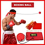 Reflex Boxing Ball on String with Headband for MMA Training Fast Reaction Speed Dodge Improve Agility Punch Sport Fight Combat Exercise Practice Fitness Elastic Rope Head Band Cap Hat Puncher by POAGL