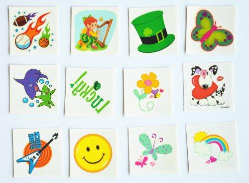 12pcs/packages imperméables non toxiques autocollants de tatouages temporaires, y compris elle -ciel , libellule, visage souriant , flèche , chien , fleurs , lettre de la chance , pointu, chapeau , petit bébé , boules .