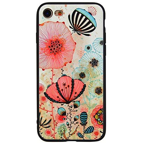 Yokata iPhone 7 Hülle Weich Silikon TPU Soft Case Handyhülle Schutzhülle Clear Backcover mit Sonnenblume Mode Muster Protective Cover + 1 x Kapazitive Feder Löwenzahn