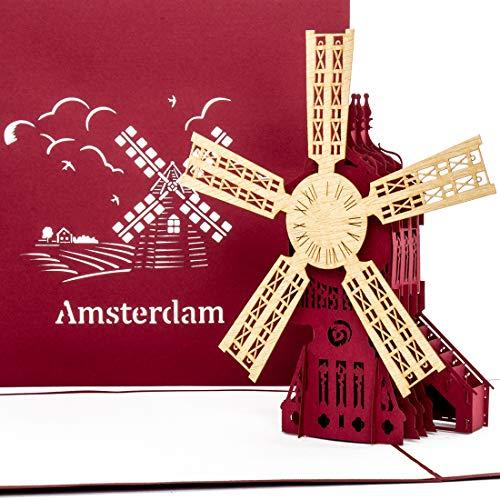 'Pop tarjeta de Up AMSTERDAM-Molino de viento-Tarjeta de Amsterdam, 3d tarjeta Molino de viento, hollandkarte, viaje cupones Holland & Amsterdam