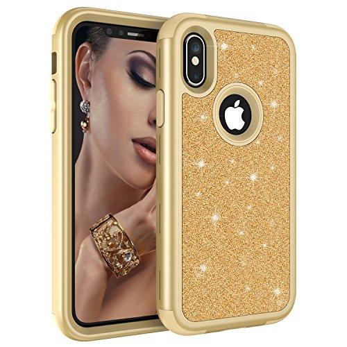 Glitzer-Schutzhülle für Apple iPhone XS Max 16,5 Zoll 2018, luxuriös, glitzernd, 3-in-1, Harte Rückseite, strapazierfähige Hybrid-Armor Defender Stoßfeste Schutzhülle für Frauen, Gold Durable Hard Case