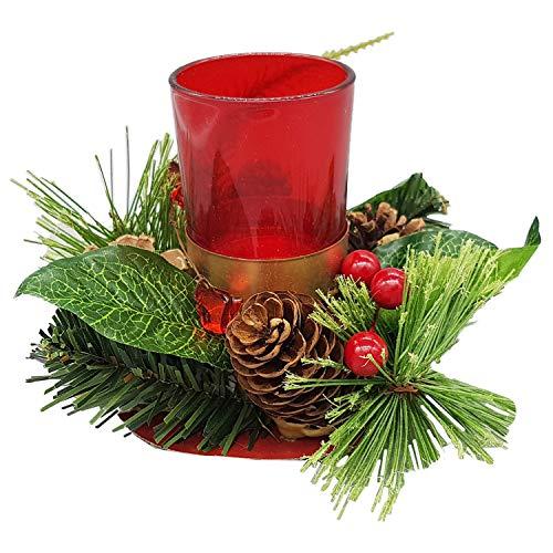 Land-Haus-Shop Weihnachtsteelichthalter Pinien Zapfen, Schnee, Weihnachts Teelicht Halter, rot (LHS)