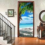 XSLIVE Türaufkleber Kreativer Umweltschutz 3D Kokosnuss Strand Selbstklebende Schlafzimmer Wandaufkleber PVC...