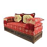 Orientalisches Sofa marokkanische Sitzcouch Set inklusive Füllung mit Rücken- & Lehnenkissen | Arabische Sitzgruppe Sitzecke Sitzkissen Sark Kösesi | Sitzgarnitur Nadia mit Holz Gestell aus Marrakesch