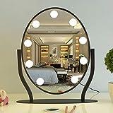 CJJC Specchio Di Trucco Creativo Da Scrivania A LED Con Luce Moderna Semplice Tavola Da Toeletta A Rotazione A 360 ° Specchio Cosmetico Per Uso Domestico,Black