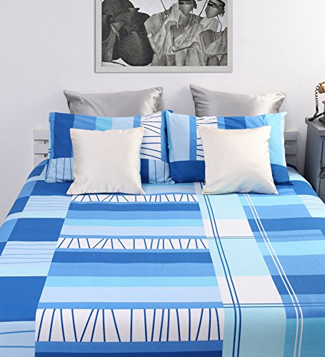 100% Cotton Bedsheets For Double Bed With 2 Pillow Covers, Dreamscape 144 TC Geometric Blue Bedsheet-Orange