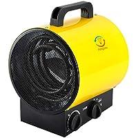 Heizlüfter Elektroheizgebläse Heißluftgenerator Industrial Fan Heater (max. 3 kW, stufenloses Thermostat, Standgerät, Tragegriff) Gelb