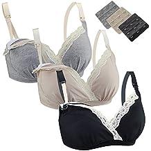FeelinGirl 3-er Pack Damen Atmungsaktive Spitze Nahtlose Schwangerschafts Still-BH ohne Bügel Umstandsmode Unterwäsche