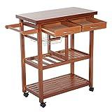 HOMCOM® Küchenwagen Servierwagen Küchentrolley Küchenrollwagen Bestelltisch mit Schubladen aus Holz 81x38x85,5cm