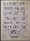 Roald Dahl Quote Print Vintage Dictionary Page Wall Art Picture Good Thoughts - Parksmoonprints - amazon.co.uk