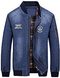 e27aa6c37f3b3 Mallimoda Uomo Giacca Manica Lunga Collo in Piedi Casuale Cappotto Denim  Jacket con Tasche