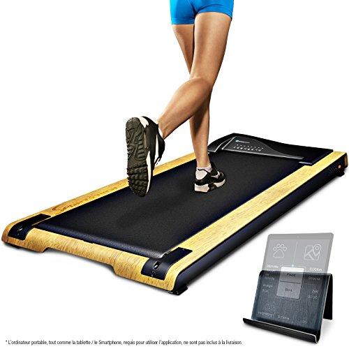 DESKFIT Tapis de marche pour bureau/table DFT200 Walkstation, Fitness sport course à la maison ou au bureau,travailler en marchant,préserve le dos,ergonomique,porte-tablette by Sportstech(Brun clair)